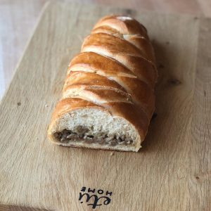 braided sausage filled bread
